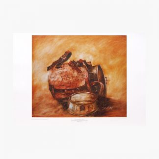 Hugh Sawrey, Greenhide Quartpot Puch, 25x22in process print on paper