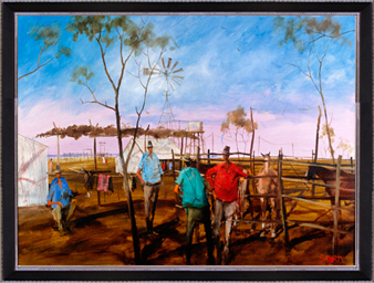 Hugh Sawrey,Arthur Churches Breaking Camp, 40x28in giclée print on canvas