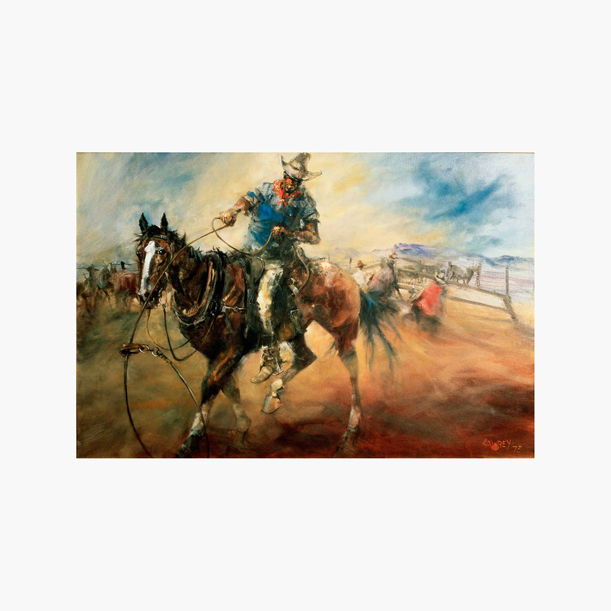 The bronco horse by hugh sawrey 20x30in giclée on canvas print