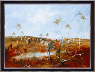 Hugh Sawrey, Arthur Churches Breaking Camp, 28x40in giclée print on canvas
