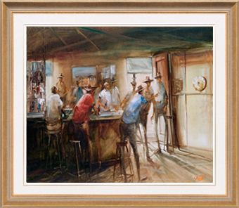 Hugh Sawrey, The Hookey Players, 24x20in giclée print on canvas