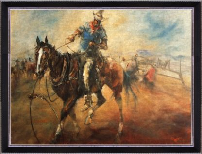 The Bronco Horse by Hugh Sawrey, 20x30in giclée on canvas print