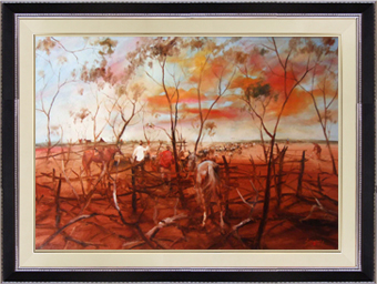 Hugh Sawrey,Arthur Sheep for Maneroo, 40x30in giclée print on canvas