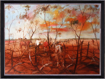 Hugh Sawrey,Arthur Sheep for Maneroo, 40x30in giclée print on canvas
